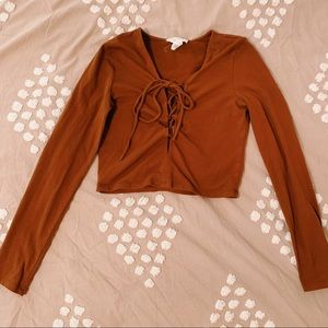 F21 Brown Longsleeve Crop Top